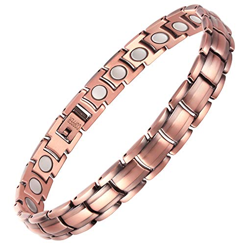 VITEROU Womens Magnetic Pure Copper Therapy Bracelet Wristband with High Powered Healing Magnets for Arthritis Pain Relief,3500 Gauss,8.5 Inches