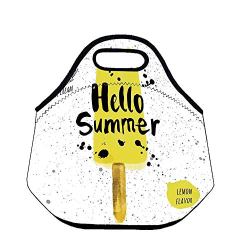 - Ice Cream Decor Custom Neoprene Lunch Bag,Hello Summer Phrase with Lemon Flavor Icon and Watercolor Splashes Decorative for Lunch Trip Travel Work,Throw(11.8''L x 6.3''W x 11''H)