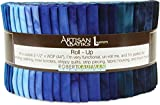 Lunn Studios PRISMA DYES OPEN WATERS BATIKS Roll Up 2.5' Precut Cotton Fabric Quilting Strips Jelly Roll Assortment Robert Kaufman RU-370-40