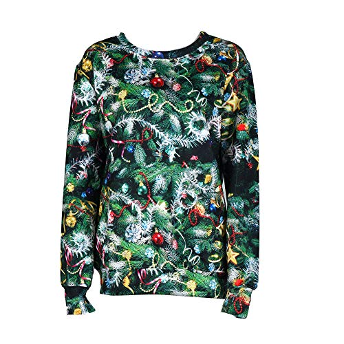 Price comparison product image Simayixx Sweatshirts for Women 3D Christmas Decoration Tree Sweaters Green Long Sleeve Outdoor Pullover Tops