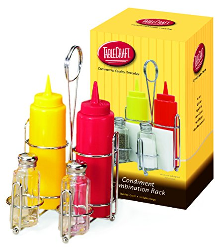 TableCraft H594108M 5-Piece Condiment Set with Dispensers Salt and Pepper Shakers and Chrome Plated Rack Chrome Plated Condiment Rack