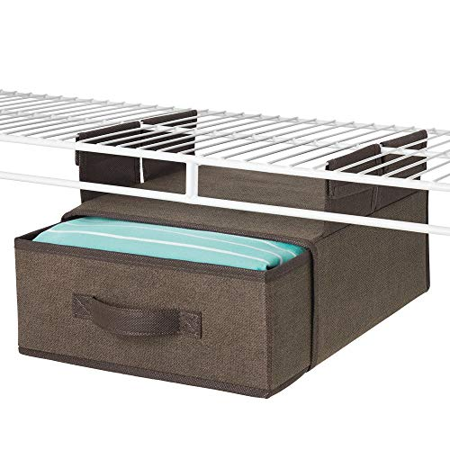 (mDesign Soft Fabric Over Closet Shelving Hanging Storage Organizer with Removable Drawer for Closets in Bedrooms, Hallway, Entryway, Mudroom - Textured Print with Solid Trim - Espresso Brown)