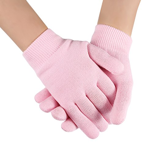 Bememo Soft Cotton Gel Moisturizing Spa Gloves and Socks for Cracked Dry Skin for Both Women and Men (Pink) by Bememo (Image #6)