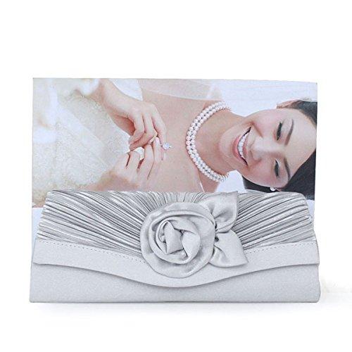 en en en Sac OUMIZHI® main embrayage plissé blanc femme pour Sac satin ARGENT à main Satin à satin HHqp6
