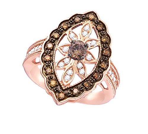 (Brandy Diamond Chocolate Brown 10k Rose Gold Marquise Flower Ring 3/4 Ctw.)