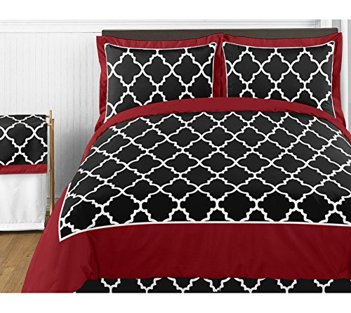 Red and Black Trellis 4 Piece Childrens and Teen Twin Girl or Boy Bedding Set Collection