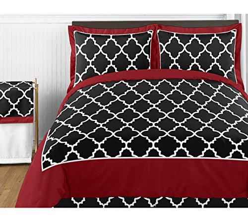 Sweet Jojo Designs Red and Black Trellis Pillow Sham B00LLK8J3S