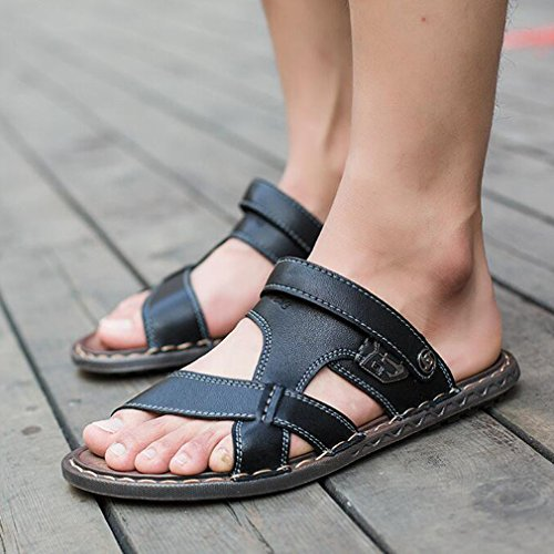 Ligeras Sandalias con de Zapatillas y Deporte Desgaste Negro para de de Cómodas Zapatillas de Dos Hombres Cuero y Antideslizantes de Junkai Estilo Clásico Verano qPZRfUvxw