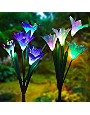 Wishlink Pack of 2Pcs Solar Powered Garden Decortions Stake Lights with 8 Lily Flower, Multi-Color Changing LED Outdoor Solar Stake Lights for Garden,Patio,Backyard Flash Effects(Purple and White)