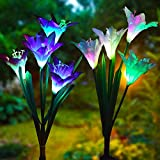 Outdoor Solar Garden Stake Lights,2 Pack Solar Powered Lights with 8 Lily Flower,Multi-Color Changing LED Solar Flower Lights for Decorating Garden, Patio, Backyard (White and Purple)