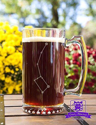 Ursa Minor Littler Dipper Constellation Etched Glass 16 Ounce Stein Mug Glassware Gift