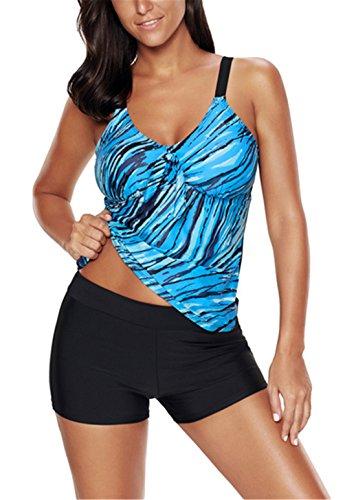 American Trends Womens Stripe Printed Two Piece Tummy Control Tankini Swimsuit Fashion Long Torso Bathing Suit Boyshort