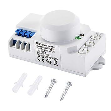 Tutmonda 220-240VCA 360 ° Sensor de Radar microondas Interruptor luz Detector Movimiento inducción del Cuerpo Humano detección Inteligente SK-805: ...