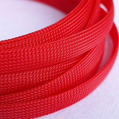 Graven 1 Meters Red 12mm Braided PET Expandable Sleeving High Density Sheathing Plaited Cable Sleeves DIY