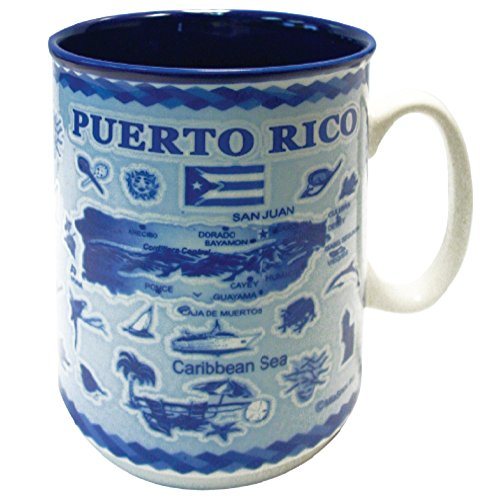Mug Puerto Rico Souvenir and Gift Embossed Map 11 oz Ceramic Coffee Mug and Tea Cup ()
