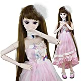 Pink Butterfly BJD Doll 1/3 Dolls 22inch 56cm 19 Joint Ball Jointed Dolls Toy Clothes + Doll + Accesssories Full Set