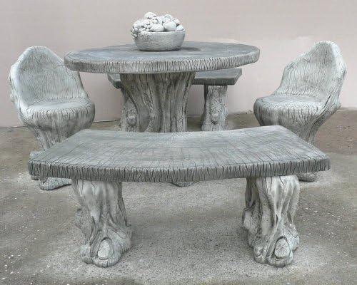 Muebles de jardín - piedra bosque bancos y juego de mesa de diseño cilíndrico: Amazon.es: Jardín