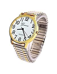 2Tone Large Face Geneva Stretch Band Women's Watch