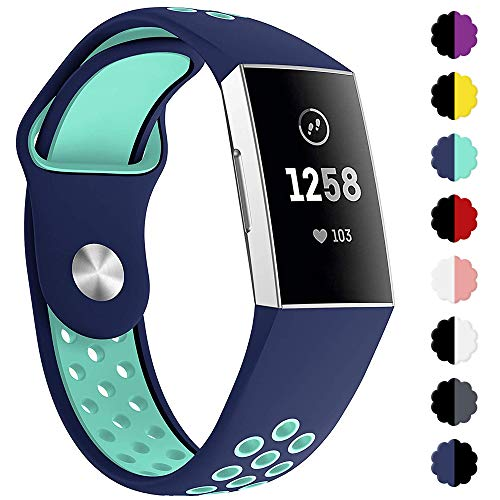 QIBOX Compatible Fitbit Charge 3 Bands, Sports Silicone Breathable Soft Strap Replacement Bracelet Bands Compatible Fitbit Charge 3 SE Fitness Activity Tracker Small Large