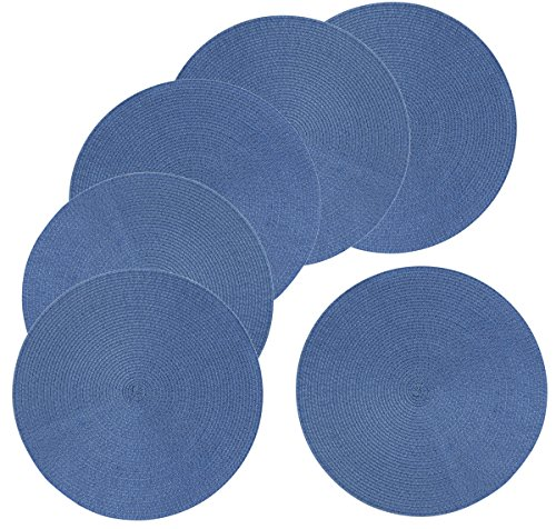 Mainstays 15-Inch Braided Placemat 6-Pack, Blue (Driftwood Round Dining Table)