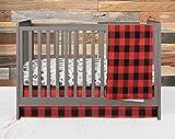 Crib Bedding Set- Forest Adventure - 3 Piece Boy Crib Bedding Set in Red and Black Buffalo Plaid - Handmade in The USA by Twig + Bird