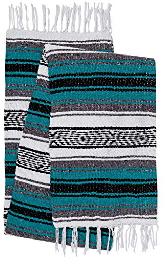 El Paso Designs Mexican Yoga Blanket Colorful 51in x 74in Yoga Studio Mexican Falsa Blanket Ideal for Yoga, Camping, Picnic, Beach Blanket, Bedding, Home Decor Soft Woven Serape (Aqua)