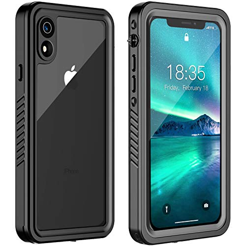 ATOP iPhone XR Waterproof Case, Full Body Rugged Cover Clear Case with Built-in Screen Protector,IP68 Waterproof Dustproof Shockproof Case for iPhone XR 6.1 Inch 2018 Release (Grey/Black)