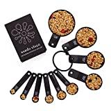 Nardo Visgo Measuring Spoons and Cups - Set Of 10 Thickened ABS Plastic For Measuring Dry And Liquid Ingredients Black, Essential Measuring Set To All Kitchen
