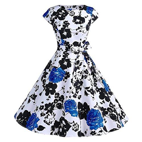 MCYs Damen Elegante 50er Vintage Floral Bodycon Kurzarm Casual Abend ...