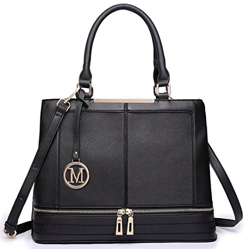 Lulu Black Casual Shoulder Handle Tote Design Women with Handbag Miss Strap Leather Top Ladies for Bags CwT1qd1