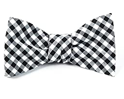 100% Cotton Black New Gingham Plaid Self-Tie Bow Tie
