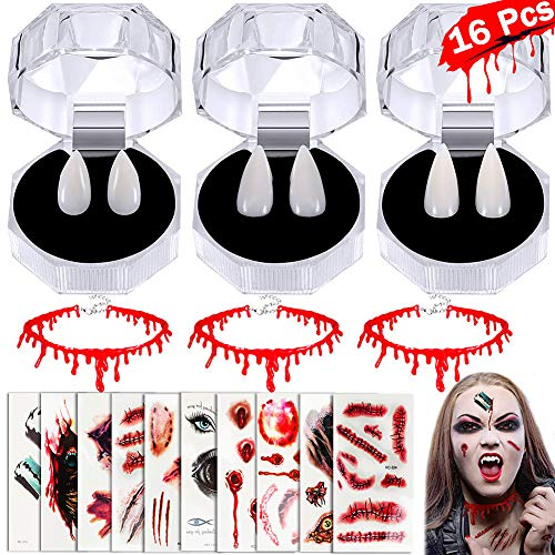 Tacobear Halloween Vampire Costume Cosplay Set Vampire Fangs Horror False Teeth Halloween Temporary Tattoos Bleeding Wound Scar Blood Tattoo sticker and Vampire Blood Necklace Choker Prop Decoration for Party Costume Makeup