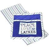 DII Cotton Hanukkah Chanukah Dish Towel Pot Holder Gift Set, Perfect Kitchen Cooking Baking-Peace Love Latkes
