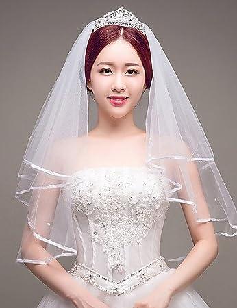 wedding veils FJY&TS Deux Couches Mariée Imitation de Perle Mariage Voiles de Mariée Voiles Bout du Doigt avec Ruban Tulle
