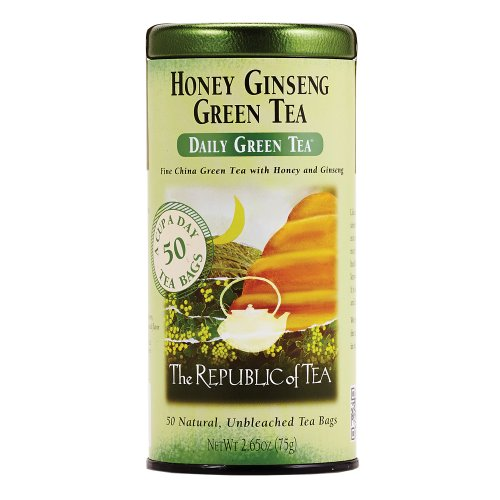 The Republic Of Tea Honey Ginseng Green Tea, 50 Tea Bags, Relaxing Chinese Green Tea Gourmet Blend
