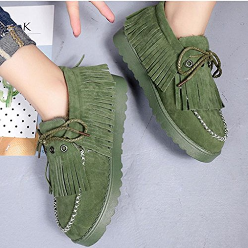 Warm Winter Shoes Ankle Winter Lazy Boots Green Snow Tassel Women's Egmy Shoes Fur Boots Flat Lined v4qxgRgw