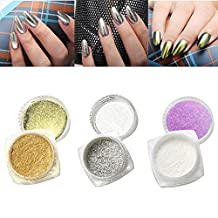 Coromose 3Pcs 1g Nail Glitter Powder Shinning Nail Mirror Powder Makeup Art DIY Chrome Pigment With Sponge Stick