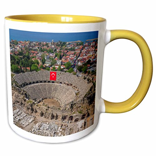 3dRose Danita Delimont - Ali Kabas - Ruins - Aerial view of the amphitheater in Side, Antalya, Turkey - 15oz Two-Tone Yellow Mug - Amphitheater Ruins