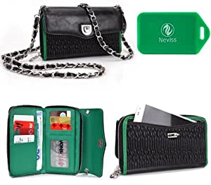 Sony Xperia Acro HD S0-03D*SplaSh series* Cross Body wallet w/ extrerior phone pocket in emerald green PLUS Bonus Neviss Luggage Tag