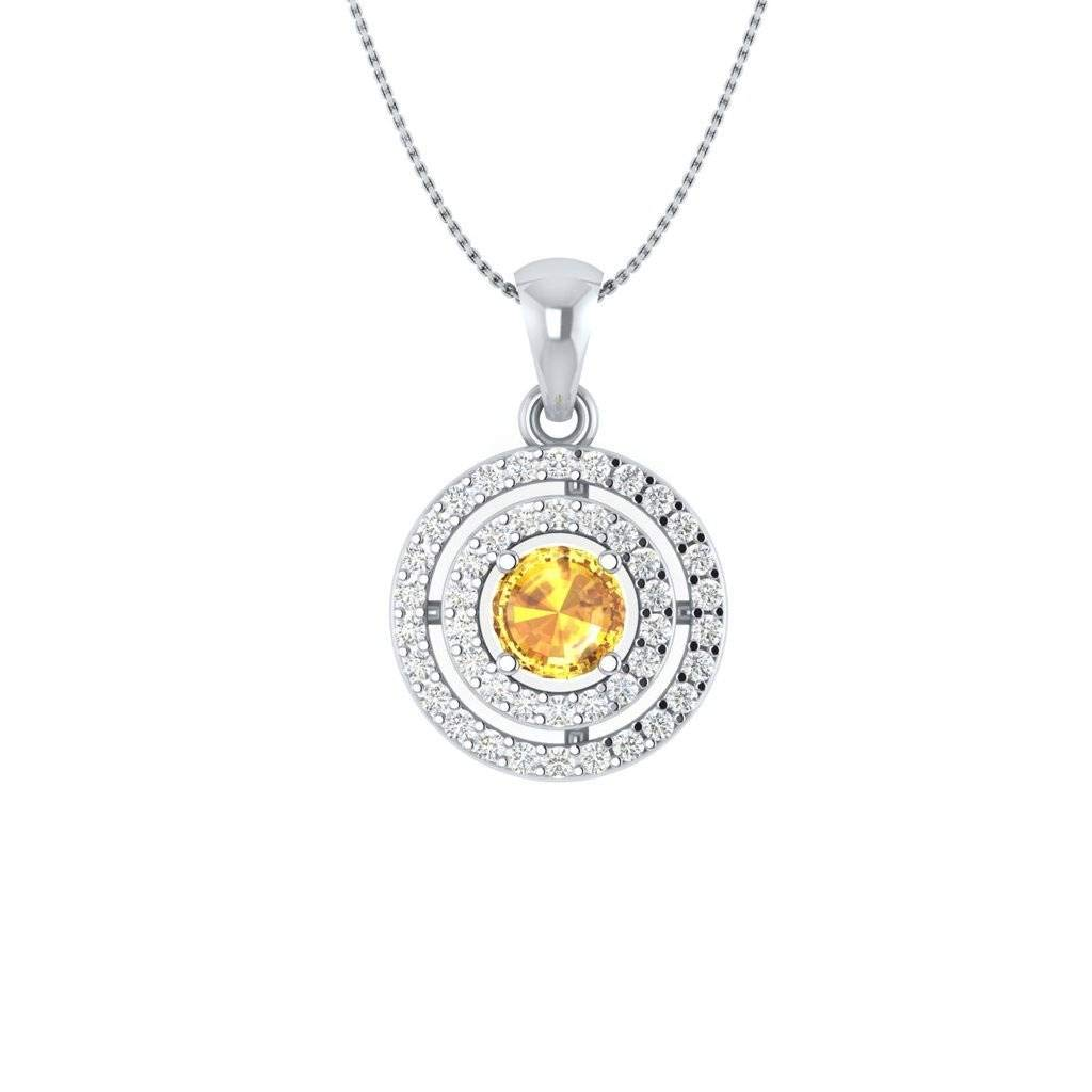 Hanssini Jewels 14k White Gold Plated 2.00 CT Round Cut Citrine Double Halo Pendant with Chain
