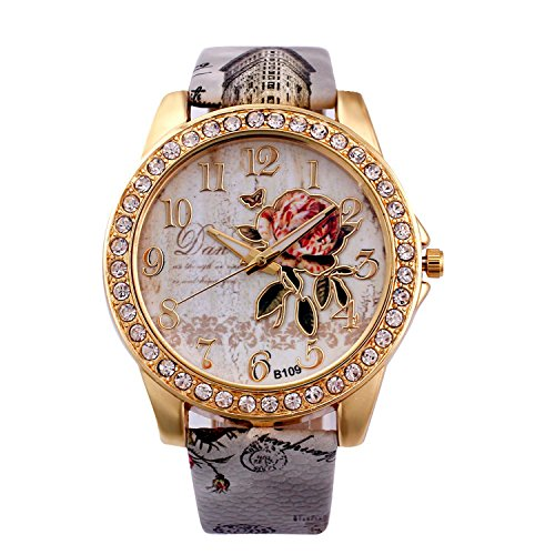 Flower Fashion Watch (Womens Flower Watches,COOKI Unique Analog Fashion Clearance Lady Watches Female watches on Sale Casual Wrist Watches for Women,Round Dial Case Comfortable PU Leather Watch-H42 (Beige))