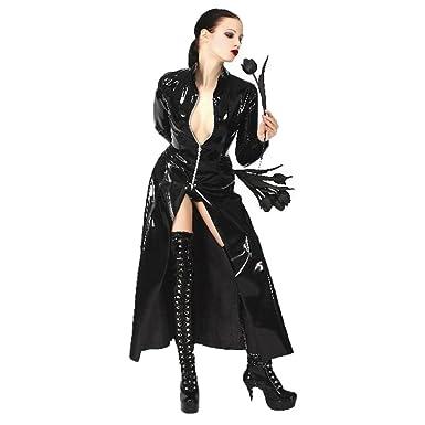 69290aa0030 nuoke Black PVC Matrix Cool Cosplay Costume Unisex Latex Long Windbreaker  Erotic Nightclub (S)