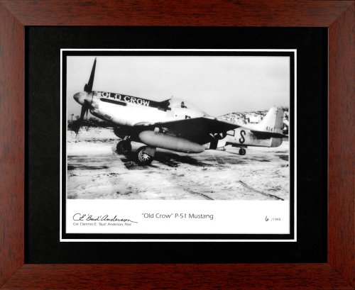 Century Collection Old Crow P-51 Mustang Photograph Autographed Framed in Metal by Century Collection