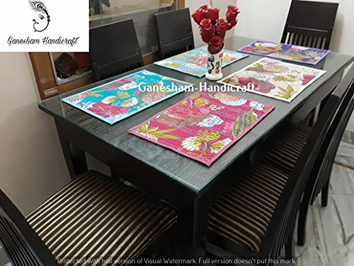 Ganesham Handicraft- Indian Handmade New Vintage Silk Brocade Dinning Table Ethnic Table Mats, Table Runner, Table Cloth, Kitchen & Table Linens, Desk Table Pads, Handmade Placemat (5 Pc) (4)