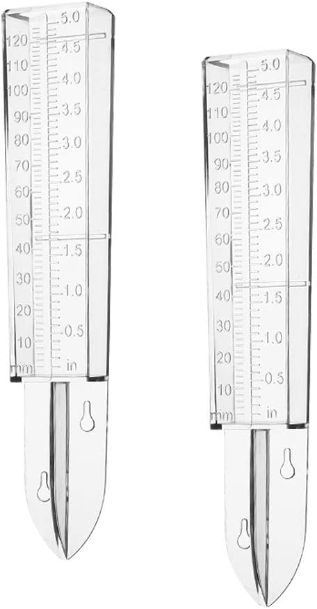 VISEMAN Home Plastic Rain Gauge -2 Pcs Clear Rain Water Meter/Simple Rain Water Measuring Device for Garden Lawn Yard