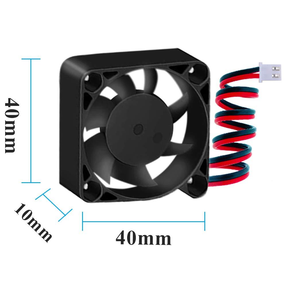 owootecc Lot de 4 ventilateurs dimprimante 3D 12 V 0,08 A 40 x 40 x 10 mm avec c/âble de 28 cm pour imprimante 3D DVR et petits appareils