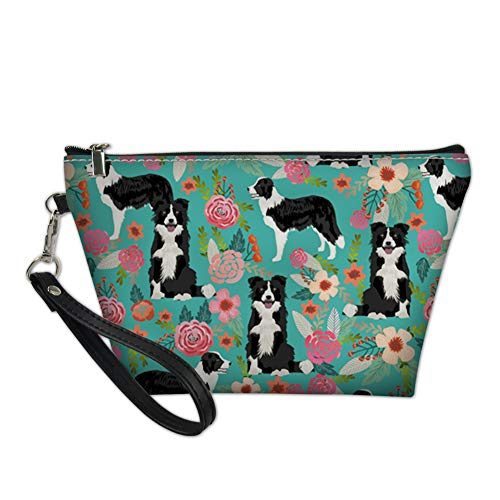 Mumeson Makeups Organizer Pu Leather Cosmetic Bag Zippered Shopping Pouch Border Collie ()