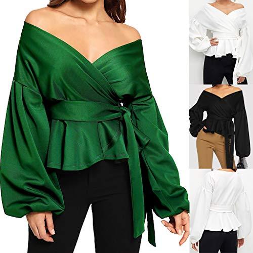 Bendaggio Green Manica Elegante Belt Camicetta Moda Bow Tops Daoope Lanterna Lunga Donna V A Lunga Senza Scollo Spalline Con donna waHqTxq