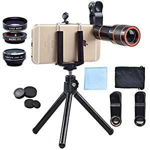Akinger HD Phone Camera Lens Kit for iPhone 6/ 6s Plus/ SE/ 7/ Samsung Galaxy S7/S7 Edge/S6 Edge and Other Android Smart Phone
