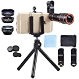 Akinger 4 in 1 Cell Phone Lens Camera Lens Kit,12x Zoom Telephoto Lens + Fisheye + Wide Angle + Macro Lens with Phone Holder + Tripod for iPhone 7/6/6s plus/5s,Samsung,HTC, Sony, LG and More